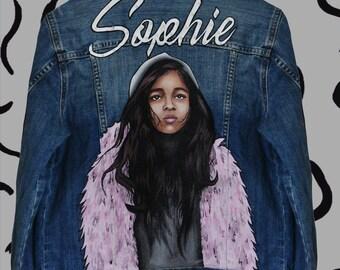 NEW!! Your Pop-art portrait on jeans jacket