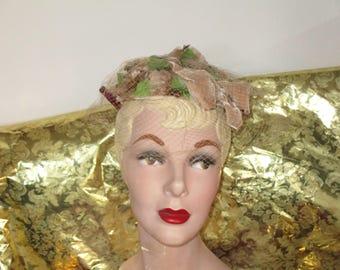 Miss Sally Victor Hat NY - Floral Topper/Pillbox Vintage Clean 50's Hat