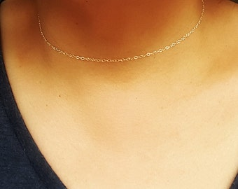 Silver Choker Necklace , Gold filled Choker, Dainty Chain in Sterling Silver or Gold filled, Simple choker, Layering necklace, Minimalist