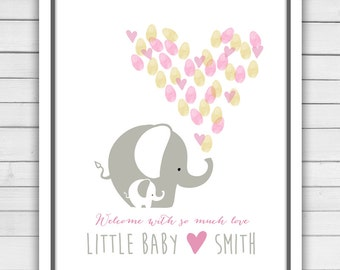 Elephant Baby shower guestbook thumbprint guestbook baby shower fingerprint baby shower thumbprint Elephant baby shower guestbook PRINTABLE