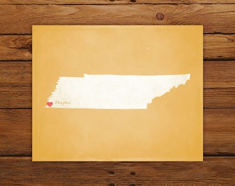 Customized Printable Tennessee State Map Art - DIGITAL FILE - Aged-Look Canvas Wall Art Print