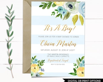 Boy Baby Shower Invitation Boy, Baby Shower Invitation, It's A Boy