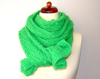 neon green scarf, handknit scarf, extra long scarf, bright green scarf, gift for her, gift for him