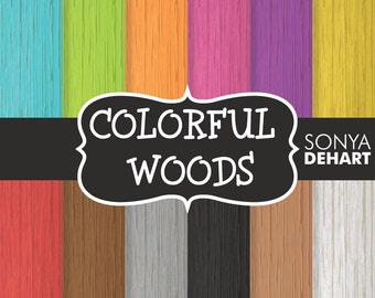 80% OFF SALE Digital Paper Colorful Woods Background Patterns
