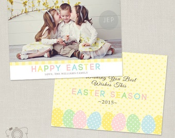 Easter Card Template for Photographers - 5x7 Flat Photo Card - C261 - Instant Download