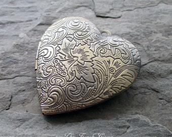 brass heart locket pendant antiqued bronze embossed repousse matte finish valentine jewelry supply