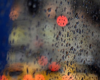 Rain New York City Photography Modern Home, Urban, New York Photo Print, Bokeh Photo Abstract, Street art yellow Taxi Cab, Traffic Big City