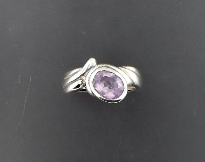 Free Form Style Sterling Silver Ring with Amethyst