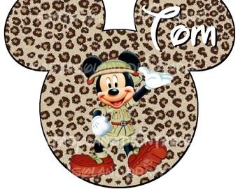 Mickey Safari DIY Printable Image for Iron on Transfers Disney Princess Leopard Cheetah Pink Animal Kingdom