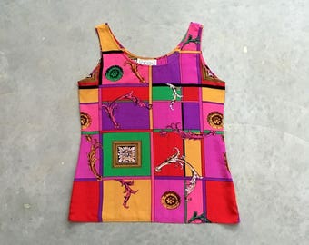 mr jax silk tank top | primary color block vintage silk blouse | baroque print 90s silk shirt | 1211249