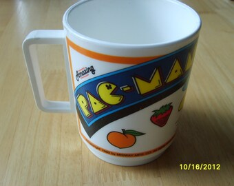 Vintage Pac Man Hard Plastic Cup,  Collectible Action Game 1980