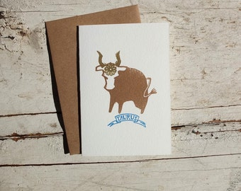 Taurus the Bull zodiac letterpress linocut card