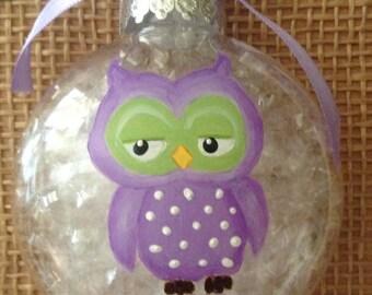 "Owl ornament, hand painted owl ornament, owl christmas ornament, personalized owl ornament, 3 1/4 "" shatterproof owl ornament."