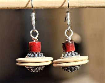 Ivory Tribal Earrings, Ethnic Earrings, Boho Earrings, gypsy Jewelry, Bohemian Earings, Gifts for her, Gift For Sister, Christmas gift