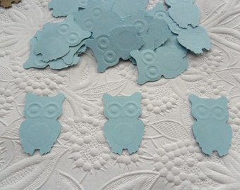 50 Light Blue Owl Confetti-1 Inch-Scrapbooking-Gift Wrapping-Embellishments-Baby Shower-Girl-Boy-Birthday Party-Punches