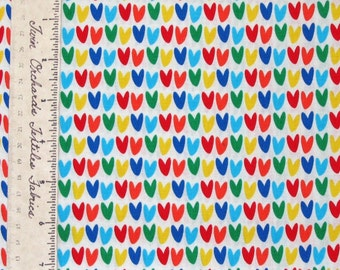 Valentine's Day Fabric - Rainbow Hearts on White C2486 - Timeless Treasures YARD