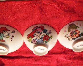 Set 3 Asian Cartoon Bowls, Kids Asian Rice Bowls, Chinese Cartoon Porcelain Noodle Bowls, 3 Vintage Asian Bowls,  Asian Noodle Bowl set