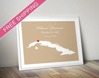 Custom Wedding Gift : Personalized Wedding Location Map Print - Cuba - Engagement Gift, Wedding Guest Book