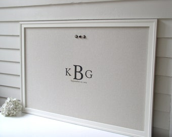 """Monogrammed BULLETIN BOARD - Framed Magnetic Memo Board - 26.5 x 38.5"""" Personalized Handmade Frame and Fabric - Company Logo Message Board"""