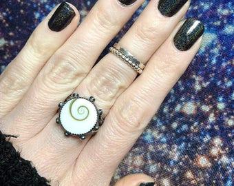 Shiva Eye Ring, Sterling and Fine, Handmade, Split Shank, Size 7
