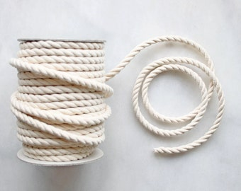 8mm Natural Cotton Rope Cord x 1m