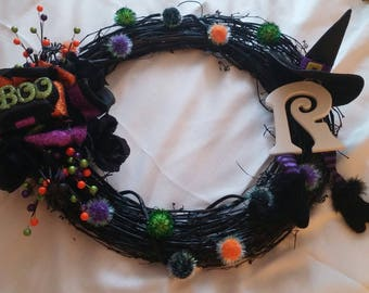Monogram Witch Halloween Wreath