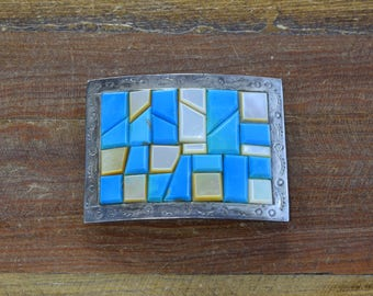 Vintage Sterling Silver Turquoise and Mother of Pearl Belt Buckle