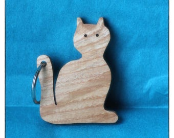 Cat Keyring, Cat KeyChain, Key Ring, Wooden Cat, Gifts