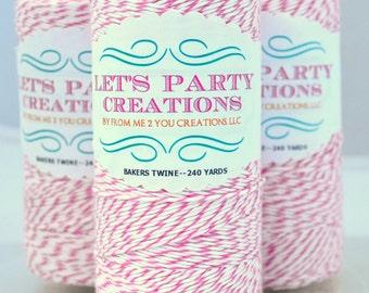 Pink Bakers Twine--RASPBERRY PINK Divine Twine, PINK and White Bakers Twine (240 yards) Pink Twine, Pink Yarn, Pink Cord