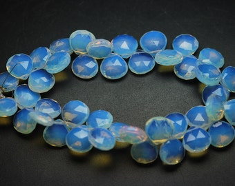 8 Inch Strand, Water Opal Quartz Faceted Heart Briolettes 11mm