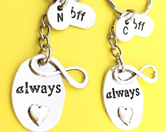 SET OF 2 Personalized BFF Keychains Best Friends Forever Set of Two Custom Always Friendship Accessories Best Friend Birthday Gift
