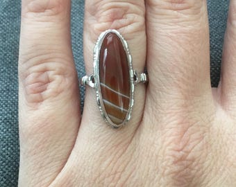 Victorian Uncas Sterling Banded Agate Ring size 6 oval navette marquise amber orange white