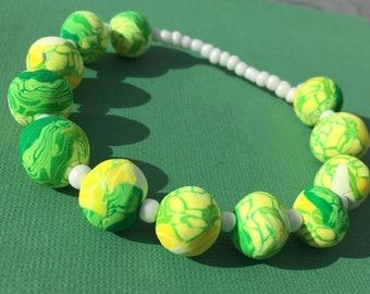 Coastal Beaded Bracelet Green Yellow