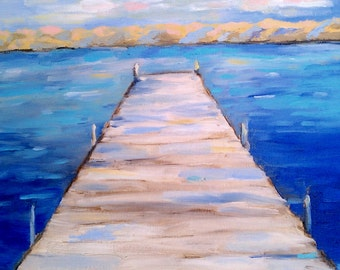 Dock painting with deep blue water and mountains sunset  print  Tomales Bay California Dock