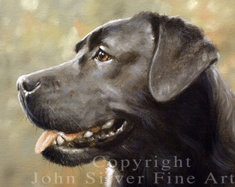 Aceo Dog Print, Black Labrador Retriever. From an Original Painting by JOHN SILVER. Personally signed. BL005AC