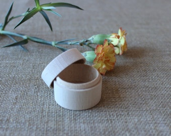 mini wooden box, engagement ring box, unfinished wood container, round wooden box, wedding ring box, little gift box, jewelry packaging