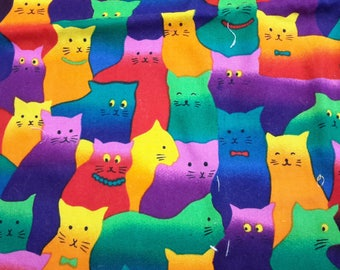 """Whimsical Cats, Colorful, Crazy, Felines, Hi-Fashion, Fabric, Multi Color, Quilting, Quilt Square, Sew DIY 100% Cotton Crafts Sewing 36""""x42"""""""