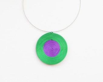 Green and purple necklace, statement necklace, minimal necklace, circle necklace, geometric necklace, summer trends, gift for her