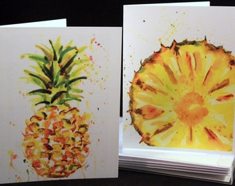 Set of pineapple Original Watercolor PRINT- Greeting Cards/ Note Cards  (Set of four), Fruit cards