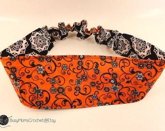 Handmade women's reversible fabric headband, adult size, double sided, elastic headband, fabric headband