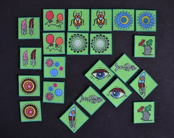 Handmade memory game for kids, memory game cards, 12 pairs hand painting