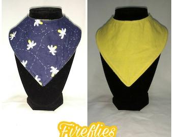 FREE SHIPPING - Reversible bandana bib - fireflies