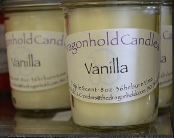Vanilla Candle: Hand Poured, Triple Scented Soy-Paraffin Candle