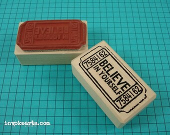 Believe Ticket Stamp / Invoke Arts Collage Rubber Stamps