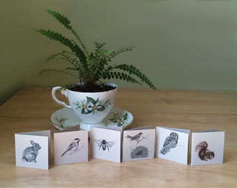 Mini cards with envelopes and seals. Set of 6 gift enclosure cards. Blank inside. Could be used as advice cards for bridal or baby shower.