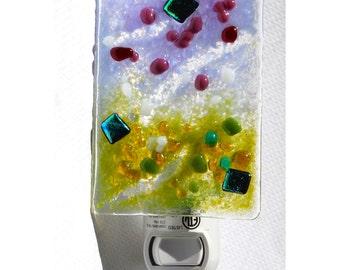 Night light glass hand made Lavender olive green cranberry mauve Fused glass Art nightlight