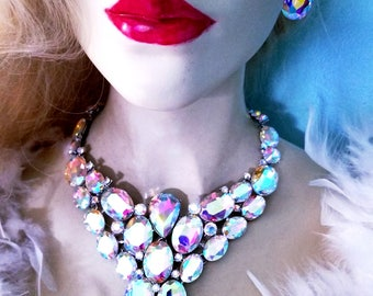 AB Rhinestone Crystal Choker Statement Necklace Earring Set Pageant Prom Drag
