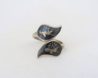 Antique Vintage SIAM Sterling Silver Inlay Black Onyx Adjustable Ring Size 7.5