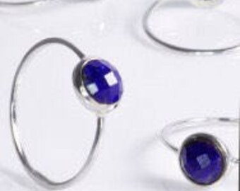 Stacking Solitaire ring Lapis as stacking ring