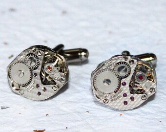 Steampunk Cufflinks -Matching Damaskeening Silver Vintage Swiss Watch Movement Men Steampunk Cufflinks Cuff Links Men Fathers Day Gift